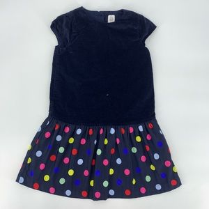 Baby Gap Drop Waist Navy Blue Polka Dot Dress